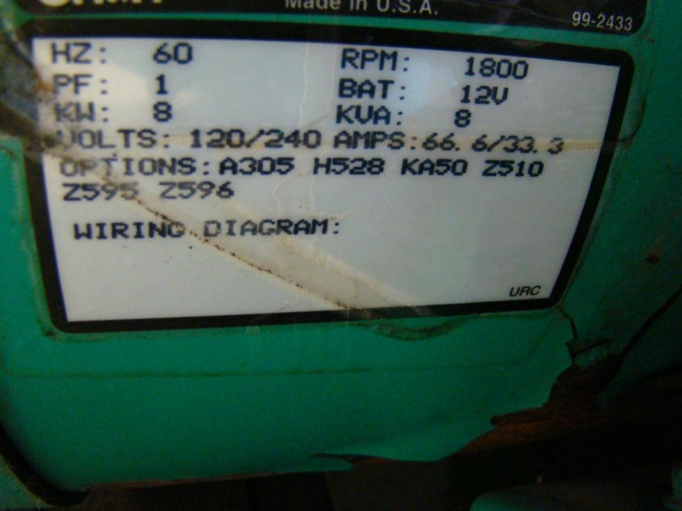 USED ONAN 7.5 KW RV GENSET DIESEL GENERATOR FOR SALE  Generators