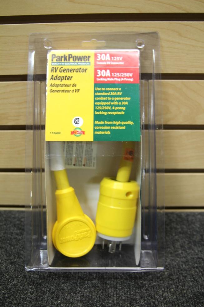 NEW PARK POWER RV GENERATOR ADAPTOR 30A 125/250V 4 PRONG LOCKING MALE PLUG Generators