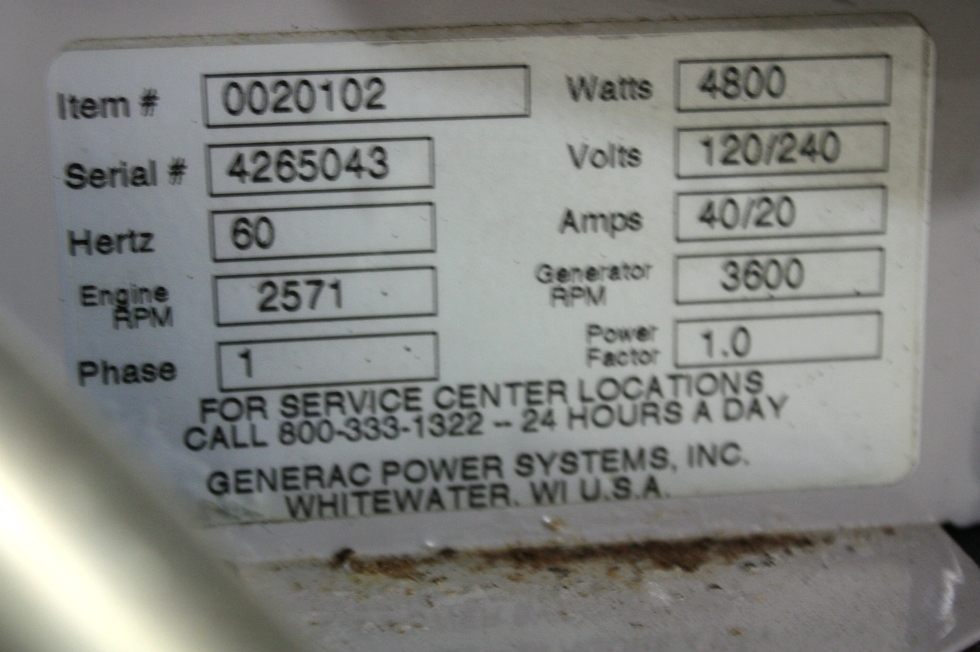 USED GUARDIAN RV 66G GAS GENERATOR FOR SALE Generators