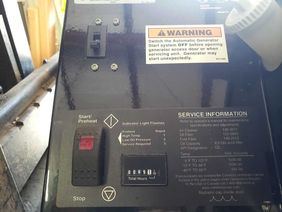 CUMMINS ONAN RV QD 10000 USED MOTORHOME 10HDKCA-11608G GENERATOR FOR SALE Generators