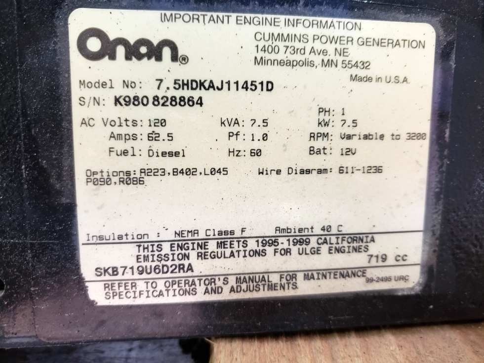 Generators USED RV ONAN QUIET DIESEL 7500 GENERATOR