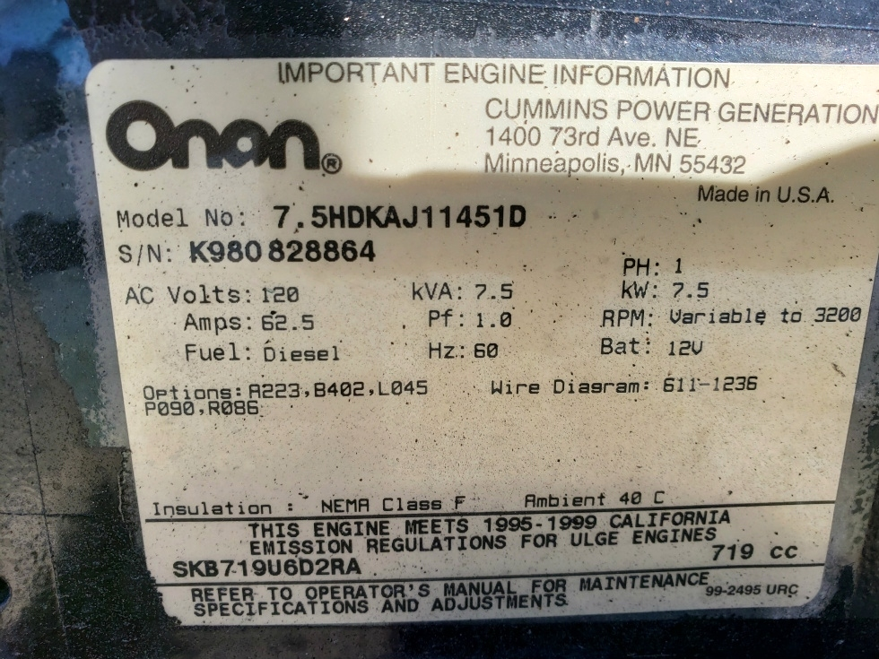 Generators USED RV ONAN QUIET SEL 7500 GENERATOR ... on