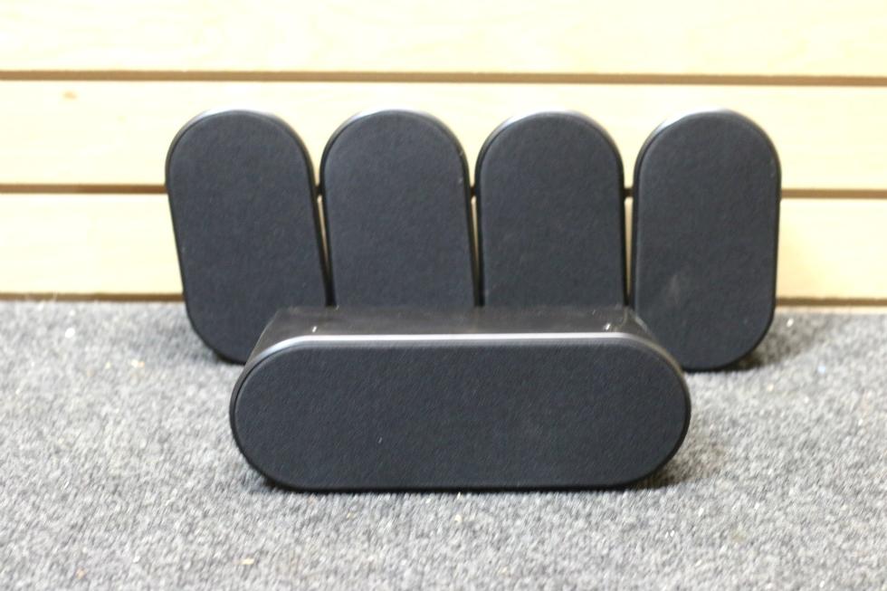USED SAMSUNG 5 PC. BLACK SURROUND SOUND SPEAKER SYSTEM PN: PS-CX40 & PS-FX40 (x4) RV Electronics