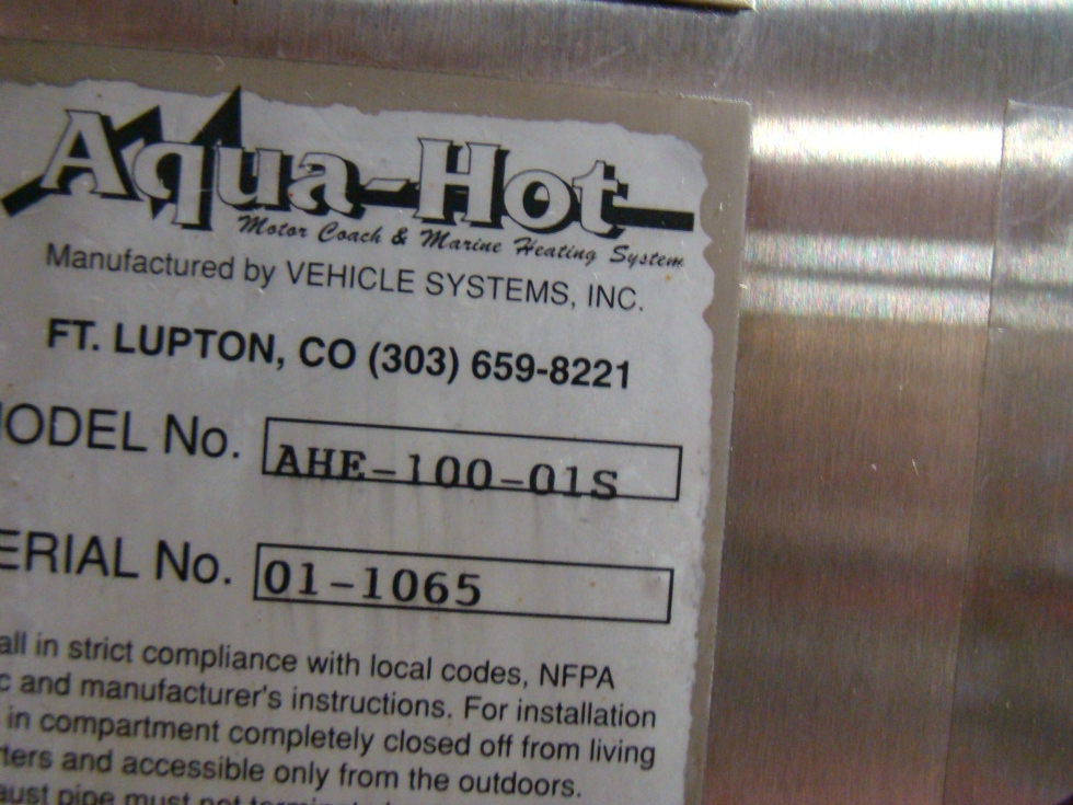 AQUA HOT AHE-100 01S FOR SALE  RV Appliances