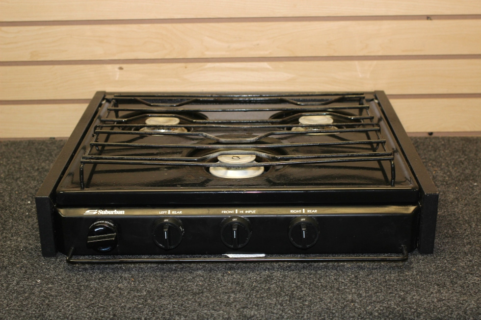USEDSUBURBAN RV 3 BURNER BLACK COOKTOP WITH STRIKER PN: SC3BE RV Appliances