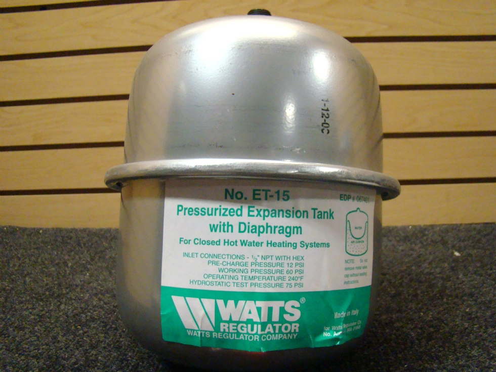 USED RV/MOTORHOME WATTS REGULATOR PRESSURIZED EXPANSION TANK RV Appliances
