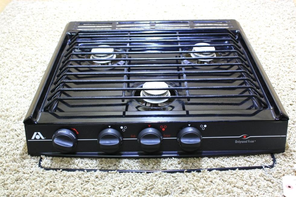 USED BLACK ATWOOD WEDGEWOOD VISION 3 BURNER COOK TOP C-V30BPN FOR SALE RV Appliances