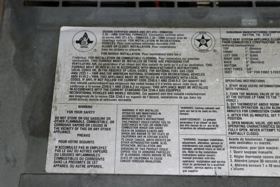 SF-42 SUBURBAN 40,000 BTU USED RV FURNACE FOR SALE RV Appliances