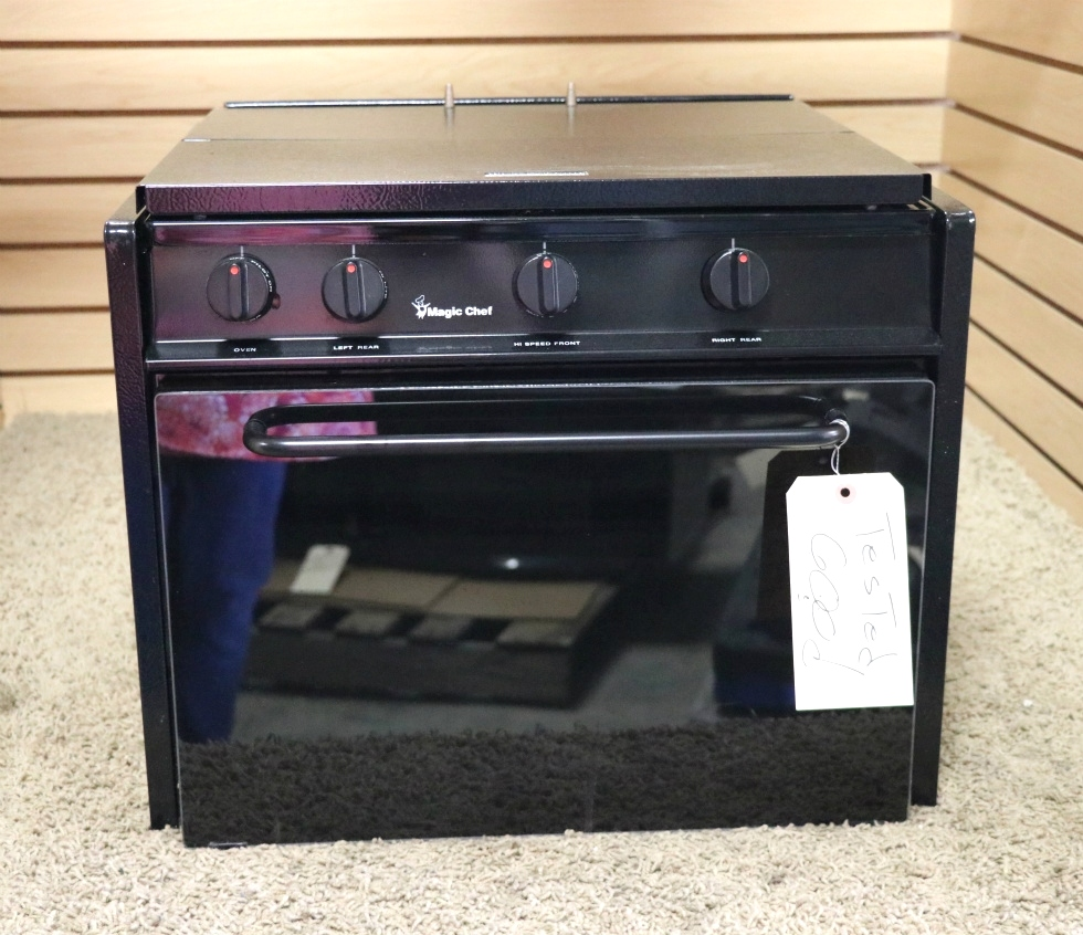 USED CLY1641BDB BLACK MOTORHOME MAGIC CHEF 3 BURNER OVEN RV PARTS FOR SALE RV Appliances