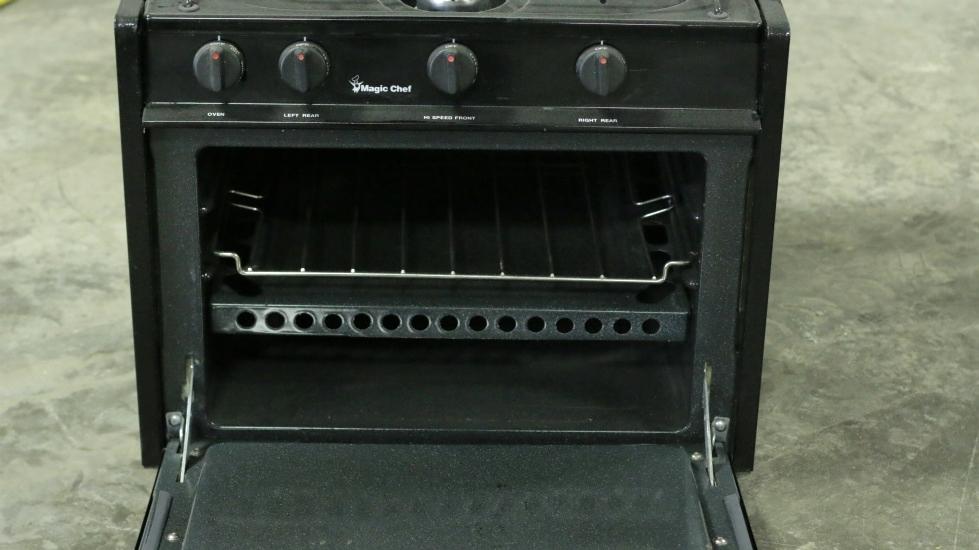 USED BLACK 4 BURNER MAGIC CHEF OVEN/STOVE CLY1231BOB RV OVEN MOTORHOME PARTS FOR SALE RV Appliances
