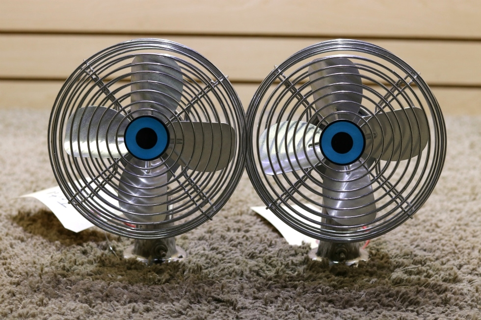 USED SET OF 2 CHROME MOTORHOME TWO SPEED FP-105L DASH FANS FOR SALE RV Interiors