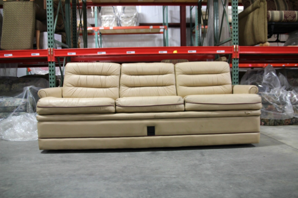USED RV/MOTORHOME VILLA INTERNATIONAL FLIP OUT SLEEPER SOFA - VANILLA LEATHER RV Furniture