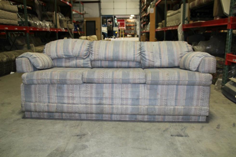 USED RV/MOTORHOME VINTAGE WINNEBAGO SLEEPER SOFA - BLUE CLOTH RV Furniture