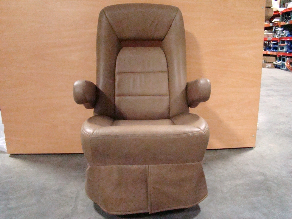 USED RV/MOTORHOME FURNITURE BROWN CAPTAIN CHAIR WITH CONTROLS ON SIDE RV Furniture