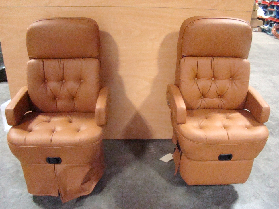 USED RV/MOTORHOME FURNITURE BUTTERSCOTCH VINYL (LEATHER LOOK) 2 PIECE  CAPTAIN CHAIRS RV