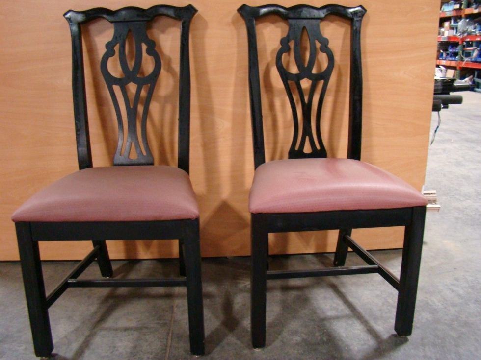 USED RV/MOTORHOME FURNITURE SET OF 2 DINETTE CHAIRS BLACK/MAUVE RV Furniture
