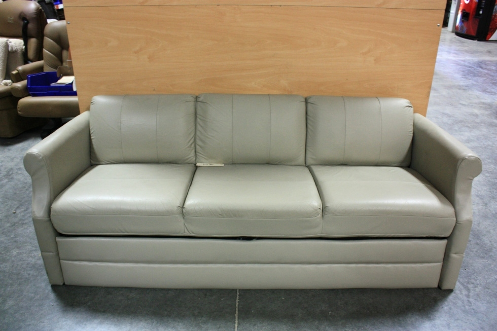 Beau USED RV FLEXSTEEL TAN VINYL JACK KNIFE SLEEPER SOFA FOR SALE