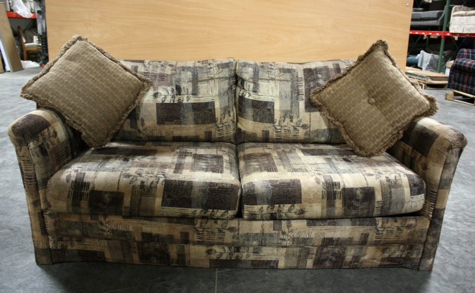 USED RV CLOTH SLEEPER SOFA WITH ACCENT PILLOWS FOR SALE RV Furniture