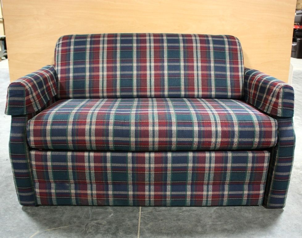 USED MOTORHOME CLOTH PLAID LOVESEAT FOR SALE RV Furniture
