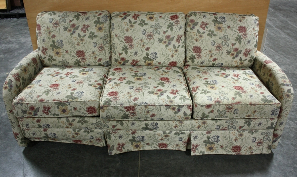 USED CLOTH FLOWER PATTERN PULL OUT SLEEPER SOFA RV FURNITURE FOR SALE RV Furniture
