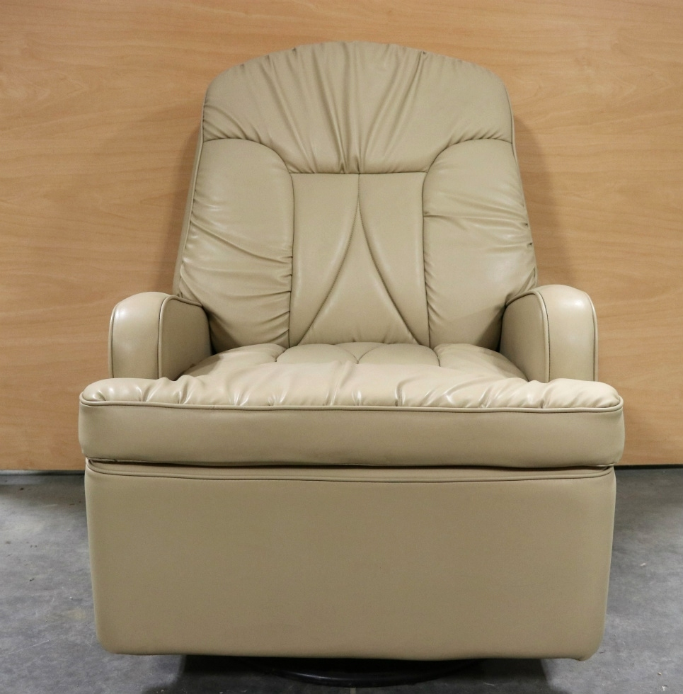 USED MOTORHOME BEIGE SWIVEL RECLINER FOR SALE RV Furniture